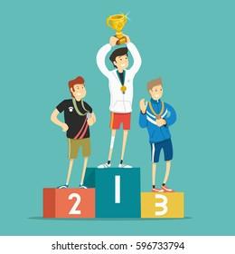 Winners on the podium. Vector illustration.