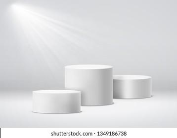 Winners pedestal. White 3d geometric illuminant studio pillar podium pedestals vector isolated illustration with spotlight