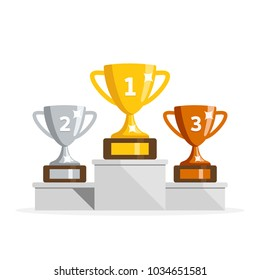 Winners podium with cups. Prizes for the Champions. Gold, silver and bronze cups. Vector illustration in flat style.