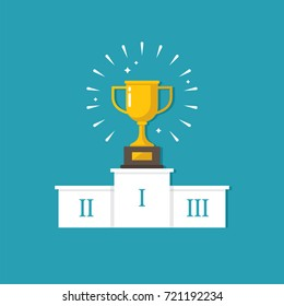 Winners podium with golden cup illustration in flat style. Victory, success design concept.