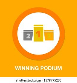 Winners podium icon, first place prize, success symbol - award champion illustration