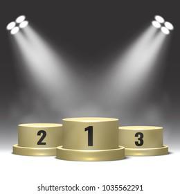 Winners podium with spotlights. Pedestal. Vector illustration.