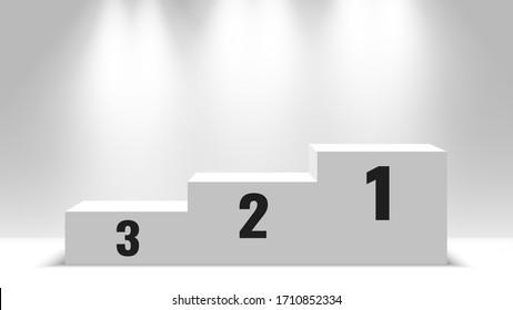 Winners podium. White blank pedestal with spotlights. Vector illustration.