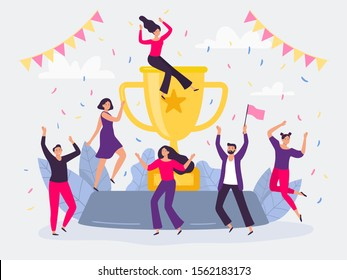Winners team. Happy people win golden cup, successful champions dancing and celebrating victory. Corporative winning award trophy, success team or teamwork wins flat vector illustration