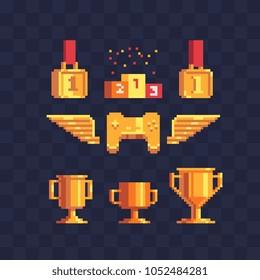 Winner's trophy award pixel art icon set, golden goblet and medal first place, game tournament achievement emblem, gamepad. Winners podium. Isolated vector illustration. Design logo, sticker, app.