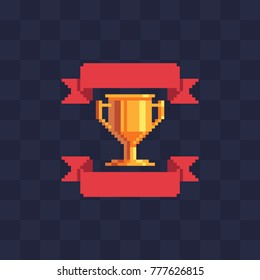 Winner's trophy award. Pixel art icon. Game tournament emblem. Golden cup and ribbons. Game assets. Isolated abstract vector illustration. 8-bit sprite.