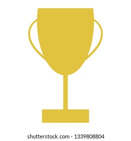 Winners trophy in gold for first place achievement in simple vector style