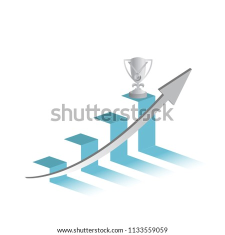 winners trophy on top of a business graph.concept. hitting the target. illustration design graphic isolated over white