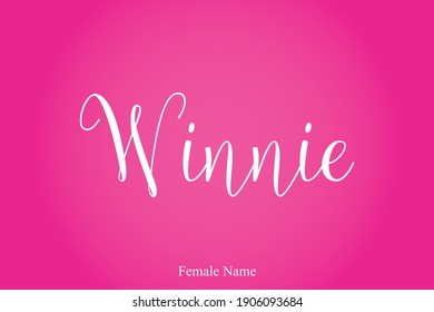 Winnie Female name - in Stylish Lettering Cursive Typography Text Pink Color Gradient Background