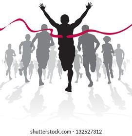 Vinnende idrettsutøver krysser målstreken