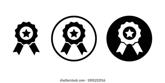 Winning award, prize, medal or badge flat icon for app and website
