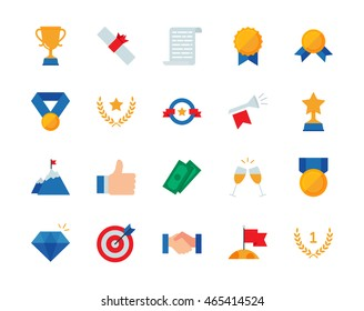 Winning awards colorful vector icons set flat style
