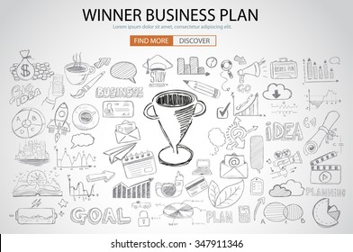 Winning Business Plan  Concept with Doodle design style :finding solution, brainstorming, creative thinking. Modern style illustration for web banners, brochure and flyers.