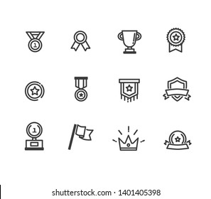 the winning and competition relative symbols. line vectors icons .