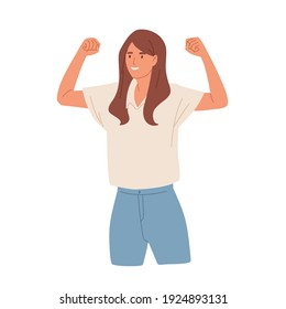 Winning gesture of happy confident woman expressing positive emotion. Successful smiling female character showing strength with fists up. Colored flat vector illustration isolated on white background