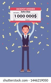 Winning lottery ticket, happy man holding giant check. Successful boy celebrating chance event of getting first prize, good luck to achieve large money fund. Vector flat style cartoon illustration