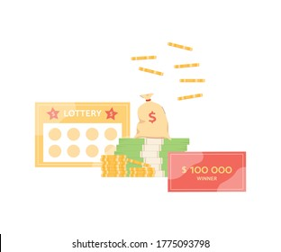 Winning lottery ticket and money prize with cash falling from above isolated on white background. Gold coins and dollar bills - gambling fortune, vector illustration.