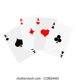 A Winning poker hand of four aces playing cards on white