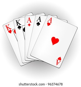 A winning poker hand of full house playing cards suits on white. Three Aces and pair of Kings. Vector illustration.