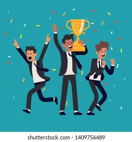 Winning and success in business and industry flat vector illustration. Business men celebrating their great success and achievements