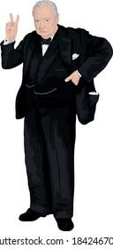 Winston Churchill British Prime Minister Vector Portrait