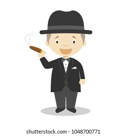 Winston Churchill cartoon character. Vector Illustration. Kids History Collection.