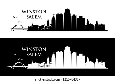 Winston - Salem skyline - North Carolina, United States of America, USA - vector illustration