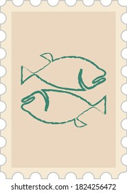 Wintage postage stamp with a fish.