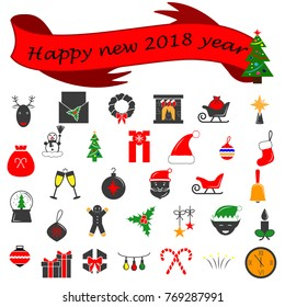 Winter 2018 New year icons set. Many different decorative elements for winter holidays. Premium quality graphic design collection icons for websites, web design, mobile app on white background