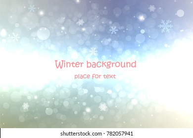 winter abstract background with snowflakes and place for text