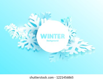 Winter abstract banners with snowflakes