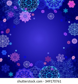 Winter abstract design with pink, blue and white snowflakes and stars and dark blue background. Text place. Vintage vector illustration.