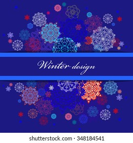 Winter abstract design with red, pink, blue and white snowflakes and stars and dark blue background. Horizontal border stripe and text place. Vintage vector illustration.