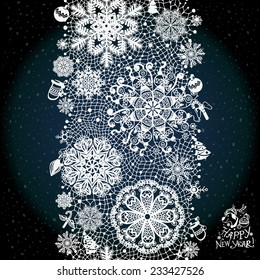 Winter abstract lace from snowflakes.The abstract lace strip for decoration. Winter theme, holidays. Template frame design for card. Lace Doily. Can be used for packaging, invitations, and template.