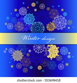 Winter abstract snowflakes background with golden, blue and yellow snowflakes and stars and dark blue background. Snowfall design. Horizontal border stripe and text place. Vintage vector illustration