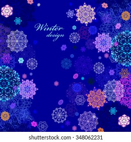 Winter abstract vertical border design with pink, blue and white snowflakes and stars and dark blue background. Text place. Vintage vector illustration.