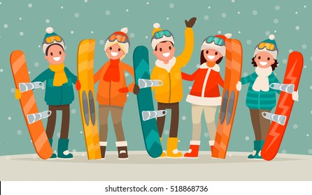 Winter active leisure . A group of people with snowboards and skis. Men and women are engaged in winter sports. Vector illustration in a flat style