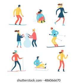 Winter activities cartoon set. Including ice skater, snowboarder, skier, playing children. Isolated elements. Winter sport illustration for your design.