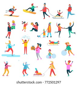 Winter activities collection of icons, skier and snowboarder, kid on sled, man with presents, snowballs and family, game vector illustration