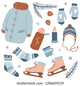 Winter activities. Cozy winter clothes and other stuff: ice skates, pine, tea, socks, mittens. Hand draw collection with cartoon items. Vector illustration. New Year and winter holiday symbols