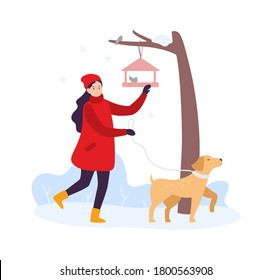 Winter activities. Girl walking with dog and feeding birds. Woman character in winter clothing spending time outdoor with pet. Feeder hanging on tree branch with birds vector illustration