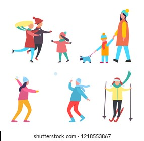 Winter activities and hobbies people set vector. Family skating with children, mother child walking dog pet. Couple playing snowballs, skiing person