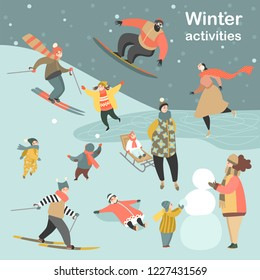 Winter activities set with people skiing, skating, snowboarding and children making snowmen and playing snowballs. Vector illustration in cartoon style.