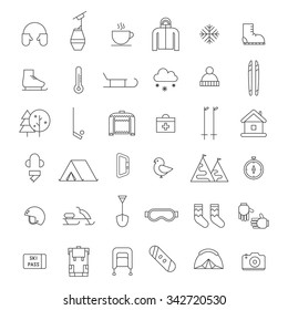Winter activities thin line icon set. Winter sports shape icons. Winter travel, hiking, climbing outline pictogram elements for adventure web and applications. Winter outdoor activity equipment icons.