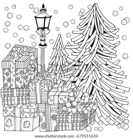 Winter Adult Coloring Book Page Lantern Stock Vector Royalty Free
