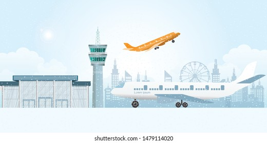 Winter at the airport with snowfall. Airport building and control tower, Winter weather concept flat vector illustration.