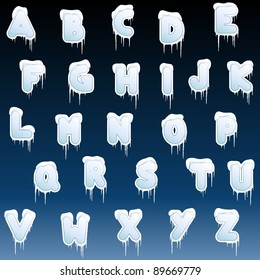 Winter alphabet with icicles (eps10);  jpg version also available
