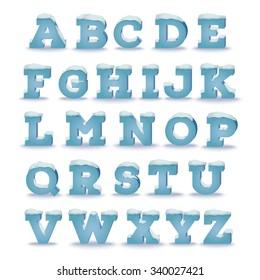 Winter alphabet with snow cap effect. EPS 10 vector illustration, transparent shadow