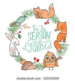 Winter animal christmas card