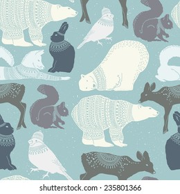 Winter animals seamless pattern with texture background